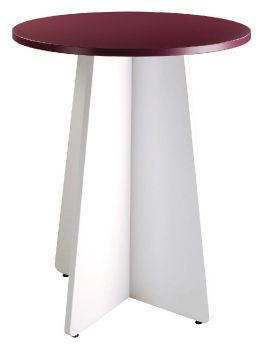 P238 Table Haute Bistro Plateau Prune Pied Blanc