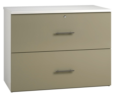 Side Filing Cabinet 2 Drawer Wide - Stone (FLAT)