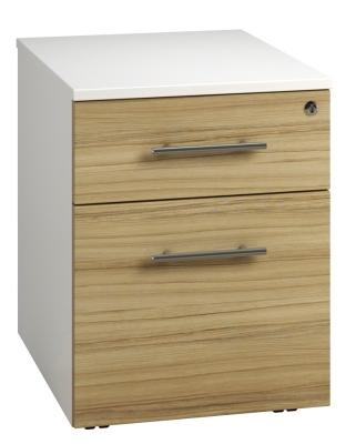 Low Mobile 2 Drawer Unit - Light Wood Grain (FLAT)