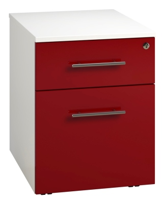 Low Mobile 2 Drawer Unit - Red (FLAT)