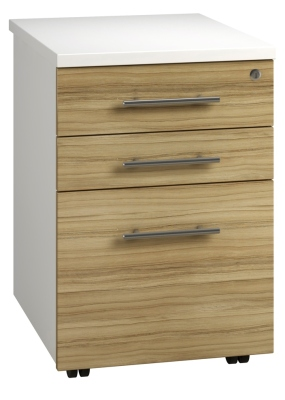 Tall Mobile Pedestal 3 Drawer - Light Wood (FLAT)