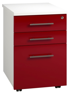 Tall Mobile Pedestal 3 Drawer - Red (FLAT)