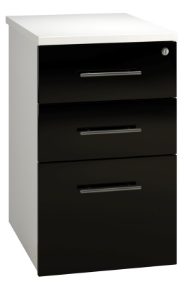Desk High Pedestal 3 Drawer Unit - Black (FLAT)