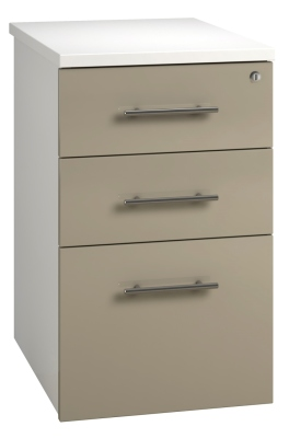 Desk High Pedestal 3 Drawer Unit - Stone (FLAT)