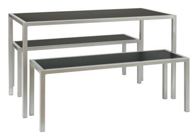 Brew-rectangular-dining-table-with-2-benches,-black---silver-compressor
