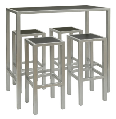 Brew Rectangular Table & 4 X High Stools, Black - Silver