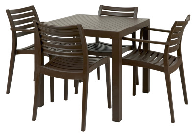 Melbourne Group Shot 2 X Ac & 2 X Sc & Square Table Brown