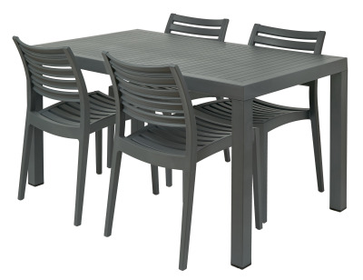 Melbourne Group Shot 4 X Sc & Rectangular Table Grey