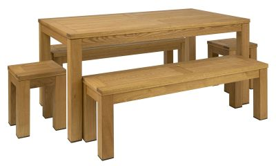 Quad Rectangular Table 2 X Bench & 2 X Low Stools