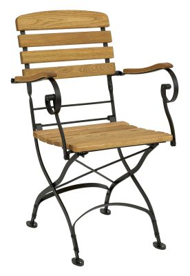 Parade-folding-arm-chair,-oiled---black-compressor