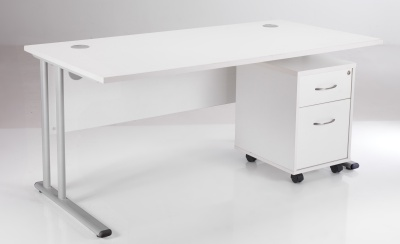 White Desk And Pedestal Bundle