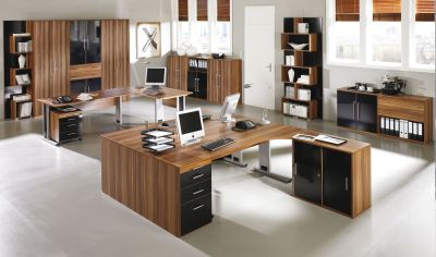 Mexico Office Design In A Dark Walnut Finish With A Touch Of Black Gloss