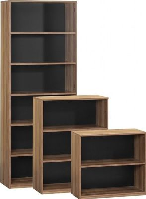 Small And Large Bookcases In A Dark Walnut Finish