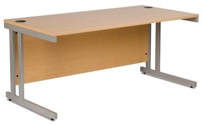 Gx Rectangular Office Desk In Beech With A Cantilever Frame