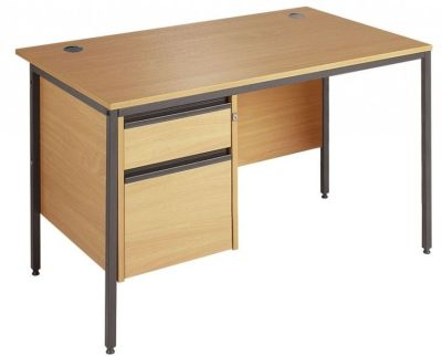 Maddellex H Frame Office Desk With Two Drawer Suspended Pedestal
