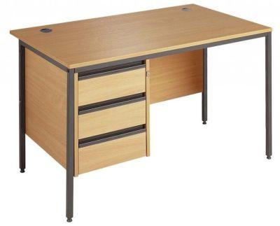 Maddellex H Frame Office Desk With Three Drawer Suspended Pedestal