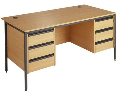 Next Day Maddellex H Frame Desk With Double Three Drawer Pedestals