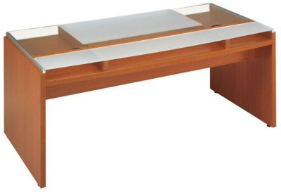 Stylish Washington Executive Office Desk In A Lacquered Finish With A Glass Desktop