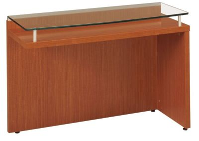 Washington Desk Return In A Rich Sycamore Finish With A Glass Top
