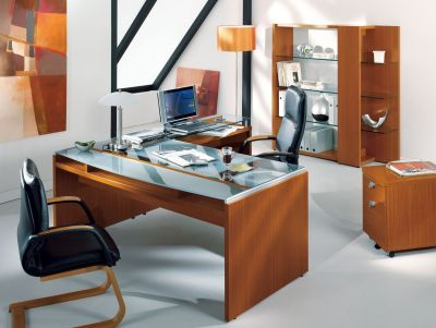 Modern Washington Office Desk, Bookcase And Pedestal In A High Quality Laquerred Finish