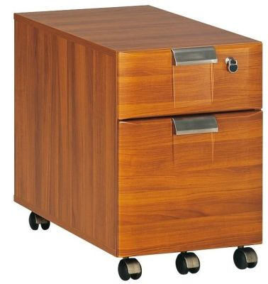 Santos Two Drawer Mobile Pedestal In A Warm Rosewood Effect Finish