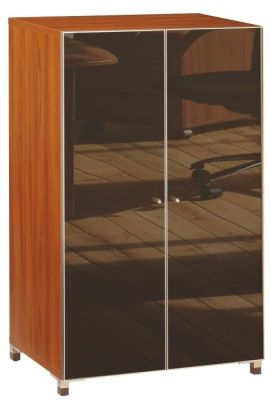 Santos Medium Height Cupboard In A Rosewood Finish With Glass Doors