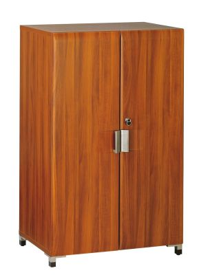 Santos Medium Height Cupboard In A Rosewood Effect Finish With Stylish Silver Handles