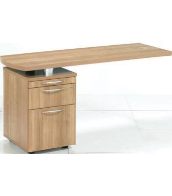 E Space Sida Return With Two Drawer Pedestal In Rich Cappuccino Finish