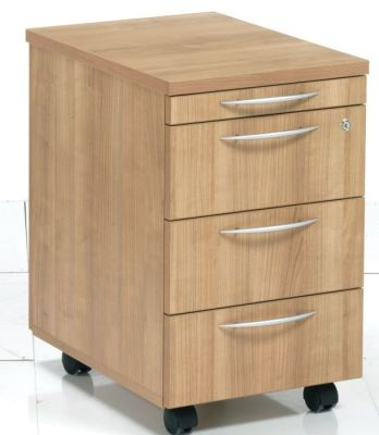 Modern E Space Three Drawer Mobile Office Desk Pedestal In A Rich Cappuccino Finish
