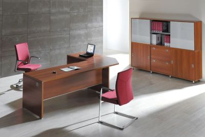 Executive Office Caba Corner Desk With Multiple Storage Opitons In A Walnut Finish