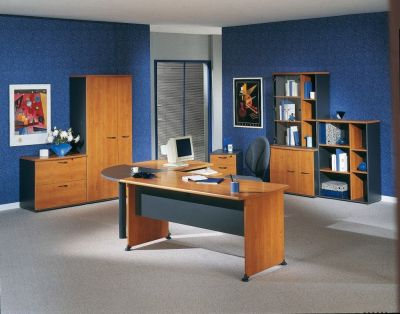Executive Jazz Furniture Range In A Alder Finish With Contrasting Charcoal Finish On Legs And Panels
