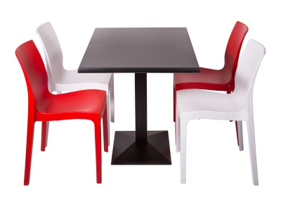 Red And White Chairs And Table