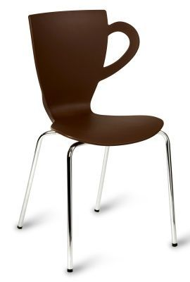 Expresso Coffe Chair In Brown And Chrome