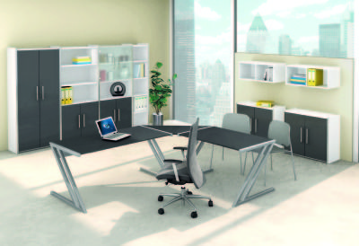 Zed Style Designer Office Furniture Set Up In Anthracite And White