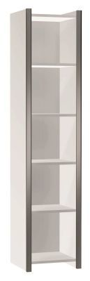 Zed Style Tall Bookcase Narrow In White