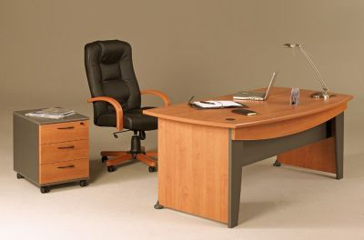 Jazz Executive Office Furniture Range With A Designer Black Leather Chair And Three Drawer Pedestal