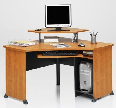 Jazz Home Office Corner Desk In A Warm Alder Finish With Suspended Monitor Stand