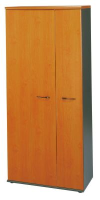 Jazz Tall Cupboard With Folding Doors And Internal Shelves In A Warm Alder Finish
