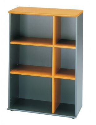 Jazz Executive Wide Section Bookcase With Alder Finish Shelves And A Charcoal Carcass