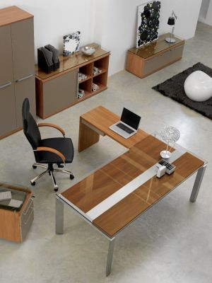 Executive Office Space Using Silver Range With Modern Corner Desk And Mulitple Storage Options