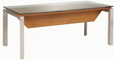 Silver Executive Office Desk With 15mm Thick Glass Top In A Walnut Finish