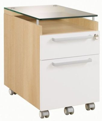 Executive Silver Two Drawer Pedestal In A Grained Oak Finish With White Covers And Glass Top