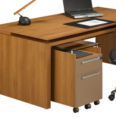 Striking Silver Rectangular Office Desk In A Stunning Walnut Finish With An Executive Two Drawer Pedestal