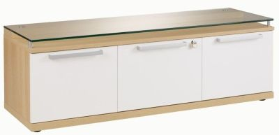 Stylish Silver Bench Style Credenza Storage Unit With Filing Drawer In A Grained Oak Finish With White Doors