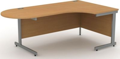 Avalon Right Hand Corner Desk In Beech With Meeting End
