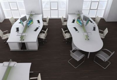 Contempary Office Layout Using Avalon Range Furniture In White