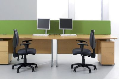 Avalon Wave Front Desks In Beech With Desktop Screens In Attactive Green And Three Drawer Pedestals