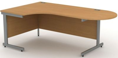 Avalon Left Hand Corner Desk With Steel Cantilever Frame And Curved Meeting Area In Beech