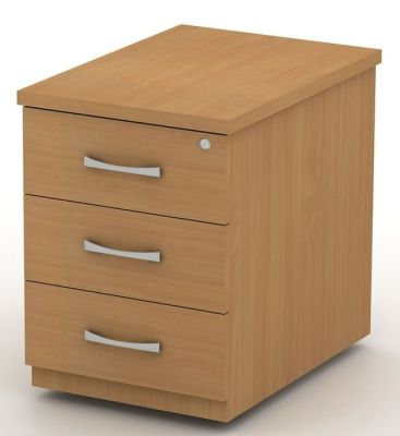 Avalon Three Drawer Pedestal With Designer Bow Handles, Castors And Central Locking For Extra Security In Beech