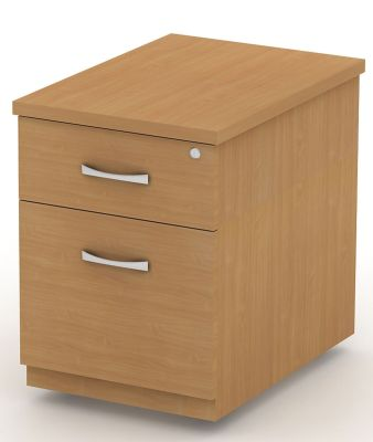 Avalon Two Drawer Pedestal Including Designer Silver Handles, Drawer Takes A4 Suspension Files And Has Castors For Extra Mobility In Beech